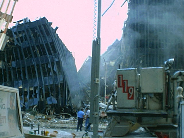 aftermath of the attack on the Twin Towers World Trade Centre on 11 September 2001