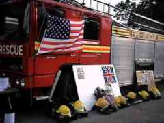 the tribute to the New York fire fighters, at the fire station in Epping, Essex, England