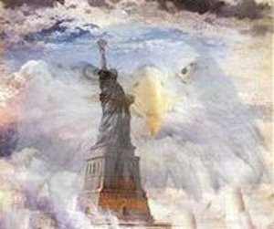 the Statue of Liberty and the Eagle of the United States of America